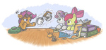 apple_bloom apples band-aid book coffee coffee_pot cutie_mark_crusaders fabric goggles measuring_tape mug needle onkelscrut pencil pincushion saddlebags scootaloo sweetie_belle