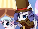 crossover hat luke_triton negativefox professor_layton rarity sweetie_belle tophat