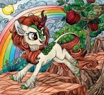 autumn_blaze kirin red-watercolor traditional_art tree
