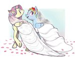 flutterdash fluttershy rainbow_dash shipping spectralunicorn wedding wedding_dress