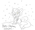 absurdres christmas coat hat highres leadhooves lineart pinkie_pie santa_hat snow snowing winter