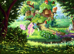 angel bird birdhouse flowers fluttershy fluttershy's_cottage gardening grass hose original_character scenery sheep tree tzu_lin