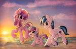absurdres av-4 beach highres princess_cadance princess_flurry_heart shining_armor sunset