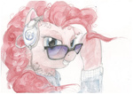 earring glasses headphones jacket pinkie_pie sugarcube-owl tattoo watercolor