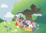 apple_bloom book bunny cutie_mark_crusaders qnaman scootaloo sweetie_belle twilight_sparkle