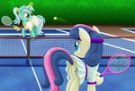 ball clothes highres lifesharbinger lyra_heartstrings magic sweetie_drops tennis tennis_ball tennis_net tennis_racquet