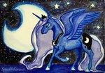 absurdres highres moon nighttime princess_luna sparkleforever stars traditional_art