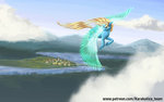 cloud flying kirillk original_character scenery