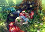 changeling flowers grass highres holivi original_character tree