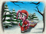 christmas forest hat highres otakuap pinkie_pie present santa_hat seven_days_late_or_358_days_early? sled snow