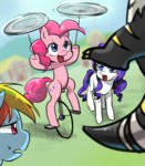 bugbear pinkie_pie plate quizia rainbow_dash rarity sweat unicycle
