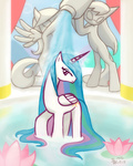 bath flowers fountain howxu princess_celestia wet_hair