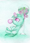 0okami-0ni background_ponies bubble_gum filly highres magic traditional_art