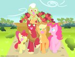 aosion apple_bloom applejack apples big_macintosh cart granny_smith highres pinkie_pie