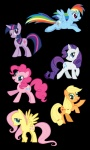 applejack artist_unknown fluttershy highres main_six pinkie_pie rainbow_dash rarity twilight_sparkle vector