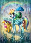 absurdres drawirm highres rain rainbow rainbow_dash scootaloo tank umbrella