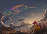 emeraldgalaxy flying rainbow_dash scootaloo sonic_rainboom