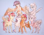 alicorn apple_bloom babs_seed cutie_mark_crusaders diamond_tiara highres iguanodragon scootaloo silver_spoon sweetie_belle traditional_art