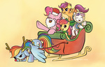 apple_bloom christmas coat costume cutie_mark_crusaders earmuffs hat immortaltanuki pinkie_pie rainbow_dash santa_hat scarf scootaloo sleigh sweetie_belle