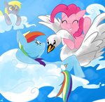 derpy_hooves luna77899 pinkie_pie rainbow_dash swan