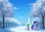 absurdres canterlot emeraldgalaxy highres mountain ponyville scenery scroll snow spike trees twilight_sparkle winter