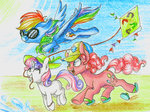 hat kite pinkie_pie rainbow_dash sweetie_belle theorderofalisikus traditional_art