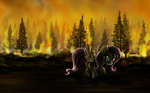 dcpip fluttershy insanity on_fire scenery