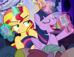 magic microphone pixelkitties princess_twilight singing sunset_shimmer twilight_sparkle