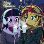 christmas cup equestria_girls humanized sunset_shimmer twilight_sparkle uotapo