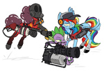 8-xenon-8 cap dog_tag flamethrower gun headphones heavy pinkie_pie pyro rainbow_dash scout spike team_fortress_2 weapon