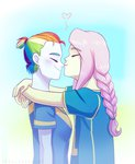 equestria_girls feellikeaplat flutterdash fluttershy highres kiss rainbow_dash shipping