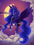 cloud flying highres millyd13 moon nighttime princess_luna stars