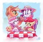 apple_bloom applejack highres rarijack-daily rarity sweetie_belle watermelon whitediamonds
