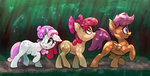 absurdres apple_bloom cutie_mark_crusaders everfree_forest highres scootaloo sweetie_belle xbi