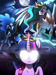 glowing_eyes nightmare_moon princess_celestia princess_twilight ruhje twilight_sparkle vine