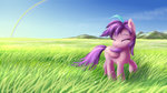 grass highres jeremywithlove mountain original_character rainbow scenery