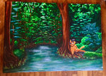 colorsceempainting forest original_character traditional_art trees water