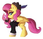 clothes feather fluttershy hat highres pipe saxopi tie