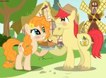 absurdres asika-aida bright_mac flowers highres pear_butter pie ponyville