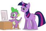 artist_unknown computer looking_at_the_place_which_shall_not_be_named reaction_image spike twilight_sparkle