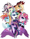 applejack creeate97 fluttershy main_six pinkie_pie princess_twilight punk punk_rarity rainbow_dash rarity twilight_sparkle