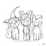 apple_bloom costume crossover cutie_mark_crusaders halloween jailbait lineart nightmare_before_christmas scootaloo sweetie_belle