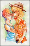 appledash applejack border highres humanized killa7 rainbow_dash shipping tattoo