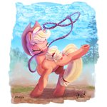 applejack dilarus highres lasso rope thediscorded trees