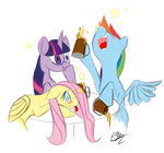 cider drunk fluttershy mug prixt rainbow_dash twilight_sparkle