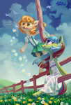absurdres anthro birds clothes fence flowers grass highres holivi magic original_character