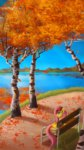 autumn bench camyllea fluttershy highres lake trees