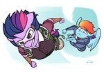 alternate_universe anthro parachute personality_swap rainbow_dash siden twilight_sparkle ultimare_universe