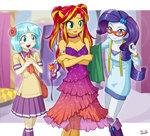 about_20_percent_anime anime coco_pommel dress equestria_girls glasses humanized mask measuring_tape rarity sunset_shimmer uotapo