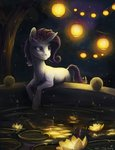 absurdres classical_unicorn highres lantern nighttime rarity turnipberry water